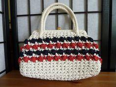 Vintage 1960s Raffia Handbag  Red White and by HookandEyeVintage, $26.00
