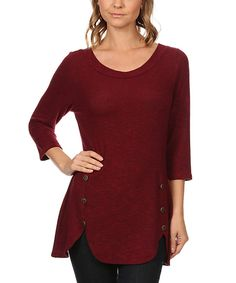 361cdb40200dc3 J-Mode USA Los Angeles Berry Button Side-Slit Tunic - Plus