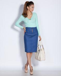Дамска пола с висока талия - син - Prince #Efrea #Ефреа #online #онлайн #пазаруване #дрехи