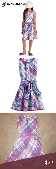 American Girl Plaid Party Dress Ruffle Pink Blue American Girl Plaid Party Dress  Size 10 This pretty dress is party-perfect!  Pink, blue, white, green plaid print Ruffle on the bodice Full skirt with button details Gathered sash at the waist Cotton material   In very good condition   Please ask any questions  💲Open To Offers💲 🚫No Trades🚫 📦Ask About Bundle Discounts💰 American Girl Dresses Casual