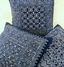 Natural Indigo Batik Hmong Decorative Pillow Cushion Covers  Authentic hand stamped Hmong batik dyed with locally grown indigo. 3 distinct patterns available. #Indigo #Hmong #Batik #Homedecor