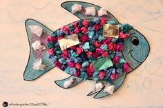 """This rainbow fish craft is the perfect companion to the beloved book """"The Rainbow Fish."""" It is so bright and colorful - kids love it! Rainbow Fish Bulletin Board, Fish Bulletin Boards, Kindergarten Crafts, Preschool Activities, Rainbow Fish Crafts, Beloved Book, Diy And Crafts, Connection, Kids"""