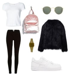 """""""fur"""" by andreakri on Polyvore featuring WithChic, rag & bone, River Island, NIKE, Ray-Ban, Forever 21 and Casio"""
