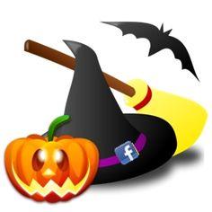 simboli di halloween: cappello di strega, zucca, scopa e pipistrello