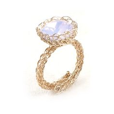 Cocktail Ring , Rose Swarovski Crystal , Wire Crochet Ring , Adjustable Ring