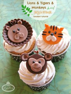 Lions and tigers and. monkeys, oh my! Whether planning a safari-themed birthday party or baby shower, jungle-themed cakes and cupcakes. Fondant Toppers, Fondant Cupcakes, Fun Cupcakes, Cupcake Toppers, Cupcake Cakes, Cupcake Ideas, Cup Cakes, Cake Topper Tutorial, Fondant Tutorial