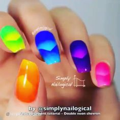 Nail DIY tutorial. Double #neon #chevron. By @simplynailogical VIDEO TUTORIAL…