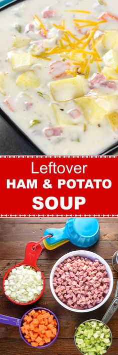 Leftover Ham and Potato Soup is an easy and delicious way to use up leftover ham and potatoes to make a creamy, comforting fall or winter soup. Ham And Potato Soup, Gluten Free Soup, Leftover Ham, Winter Soups, Creamy Cheese, Incredible Recipes, Slow Cooker Soup, Soup And Sandwich, Healthy Vegetables