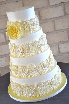 Buttercream ruffles wedding cake - All Italian Buttercream except for the gumpaste rose. It was fun to just go for it with the ruffles! Perfect for Janessa! Buttercream Ruffles, Buttercream Designs, Buttercream Birthday Cake, Italian Buttercream, Birthday Cakes, Round Wedding Cakes, Cool Wedding Cakes, Beautiful Wedding Cakes, Beautiful Cakes