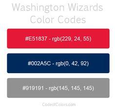 Washington Wizards Team Color Codes