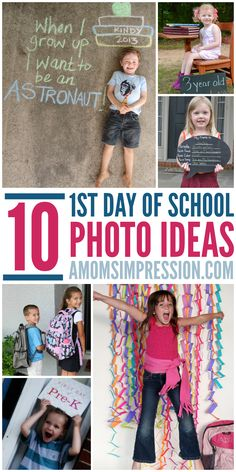 10 fun photo ideas for the 1st day of school.  Parents love to capture the first days of school.  Here are some fun ideas!