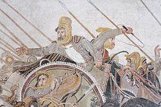 Dario III di Persia, particolare della battaglia di Gaugamela/Isso/Granico, fine IV secolo. a.C. Copia romana di una pittura greca, mosaico. Dalla casa del fauno, Pompei. Museo archeologico nazionale di Napoli.