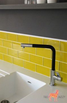 Yellow kitchen will be so much attractive for any home design whether big or small. So, here are some yellow kitchen ideas for designing your kitchen room. Yellow Kitchen Walls, Yellow Walls, Kitchen Colors, Room Tiles, Bathroom Floor Tiles, Kitchen Tiles, Kitchen Counters, Yellow Kitchen Accessories, Apartment Therapy