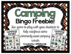 Camping Bingo Freebie Camping Games For Adults, Camping Activities, Camping Crafts, Preschool Activities, Group Activities, Therapy Activities, Camping Bingo, Camping Theme, Camping Room