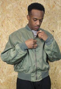 Vintage Green Alpha Bomber Jacket with Orange Inner