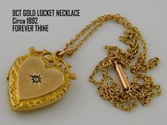 1892 Antique Locket Necklace Gold Locket by AntiqueLockets on Etsy