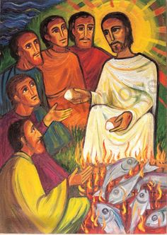 Breakfast on the Seashore - Banner Christian Artwork, Christian Images, Scripture Art, Bible Art, Catholic Art, Religious Art, Jesus Painting, Christ The Redeemer, Jesus Art