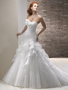 strapless organza and tulle a-line wedding dress with scoop neckline