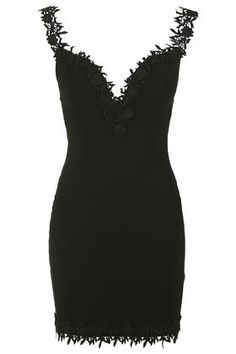 **Lace Trim Bardot Mini Bodycon Dress by Rare