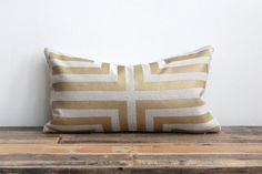 This hemp lumbar pillow cover is hand printed with my glamorous and geometric Doha design in a shimmery metallic bronze on the front of the