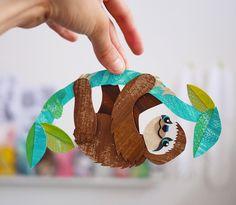 Kyle Goes Alone, Owlkids, sloth, paper cut illustration . Rainforest Crafts, Rainforest Activities, Paper Art, Paper Crafts, Crafts For Kids, Arts And Crafts, Alpacas, Animal Crafts, Children's Book Illustration