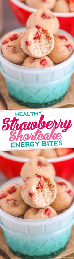 Strawberry Shortcake made into Energy Bites? And they're HEALTHY? Yes please!  These Heathy Strawberry Shortcake Energy Bites have got all the flavor of Strawberry Shortcake -- they're sweet and buttery and packed with strawberry flavor -- but they don't have all the added sugar, butter or cream.  No baking required to munch on these bites! [refined sugar free, gluten free]