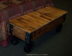 Customizable Industrial Bench or Coffee Table With Wheels - Reclaimed Wood Factory Cart. $379.00, via Etsy.