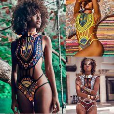 Women African Print Bikini Set Swimwear Push-Up Padded Bra Swimsuit Beachwear - Bikini Modelle Afro, Beachwear For Women, Women Swimsuits, African Fashion Designers, Monokini Swimsuits, Women's Swimwear, African Swimwear, Strand, Bikini Set