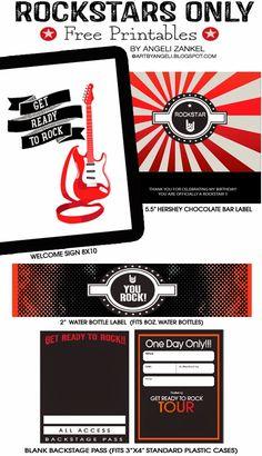 artbyangeli: Rockstar party free printables