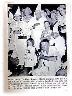 The first Klan flourished in the Southern United States in the late 1860s, then died out by the early 1870s. The second KKK flourished nationwide in the early and mid-1920s, and adopted the same costumes and code words as the first Klan, while introducing cross burnings. (the KKK in Macon, Georgia) - Jet Magazine May 3, 1956 by vieilles_annonces, via Flickr Source: wikipedia