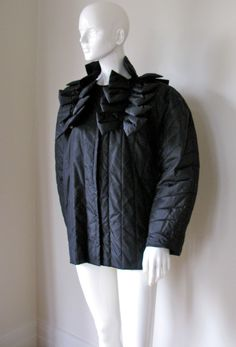 Krizia Vintage 1980's Black Silk Quilted Bow Detail Swing Jacket NWT