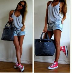 Shop this look on Lookastic:  https://lookastic.com/women/looks/tank-shorts-high-top-sneakers-tote-bag-sunglasses/11548  — Black Sunglasses  — Grey Tank  — Charcoal Canvas Tote Bag  — Light Blue Ripped Denim Shorts  — Hot Pink High Top Sneakers