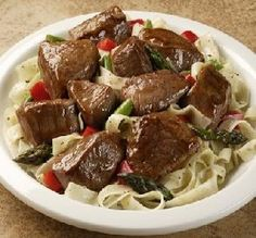 SLOW-COOKER BEEF TIPS: 1 pound cubed Beef-dredge in flour. Add to crock cup Shallots, 1 pound Mushrooms, Beef Broth, Tomato Paste (I use cup Red Wine. Cook on low add Flour mixed cup Water or Broth in the last hour. Serve over buttered Egg Noodles. Crock Pot Beef Tips, Beef Tip Recipes, Crockpot Dishes, Cooking Recipes, Crockpot Meals, Beef Dishes, Sirloin Recipes, Grandma's Recipes, Sirloin Tips
