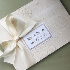 Vintage Theme Ivory Wedding Guest Book with Lace by Asyouwishbooks