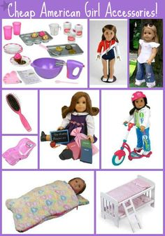 If you have an American Girl Doll Lover this is a great list of Cheap Accessories like Doll Beds, Brushes, scooters, Clothing and more. A Great Way to save over buying all the name brand items! #americangirl #dolls #christmas