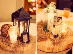 .lantern, birch, candle centerpiece