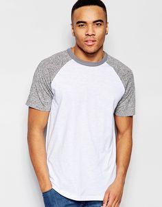 Imagen 1 de Camiseta con manga ranglán en gris marga de New Look