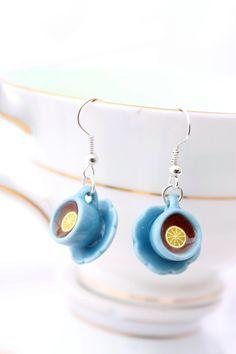 Blue teacup earrings, tiny teacup earrings, Alice in