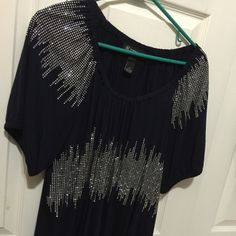 INC navy blue and silver shirt Worn 1 time. It is in brand new condition. Has beautiful silver design. Great for a night out! Size 1x. INC International Concepts Tops