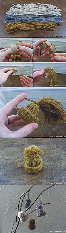 Recycle! Reuse paper towel rolls and scrap yarn to create cute winter hat ornaments!