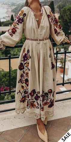 Boho Dress, Lace Dress, Elegant Dresses, Casual Dresses, Modest Fashion, Fashion Outfits, Fast Fashion, Style Fashion, Floral Embroidery Dress