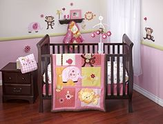 Little Bedding Jungle Crib Bedding Set, Raspberry, 4 Count Little Bedding http://www.amazon.com/dp/B00U8BW6VW/ref=cm_sw_r_pi_dp_zqhBvb03YMM9N