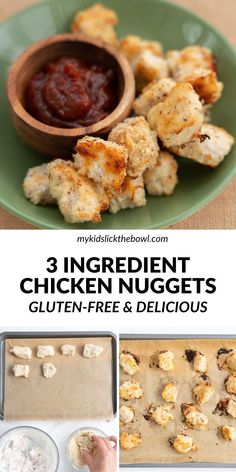 Let's face it kids absolutely love chicken nuggets, these gluten-free chicken nuggets are made with just 3 ingredients and are ridiculously easy to make. Get the delicious recipe here at My Kids Lick The Bowl Healthy Family Dinners, Healthy Meals For Kids, Good Healthy Recipes, Family Meals, Kids Meals, Healthy Chicken Nuggets, Kids Board, Gluten Free Chicken, Kid Friendly Meals