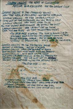 Joe Strummer's handwritten lyrics for London Calling, 1979. pic.twitter.com/t3e8Mm3Pdl