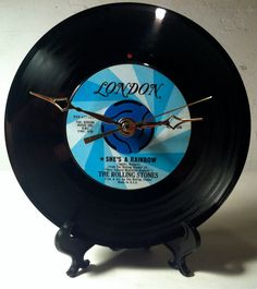 """Record Clock / Recycled ROLLING STONES 7"""" Vinyl 45rpm / She's A Rainbow on Etsy, £17.79"""