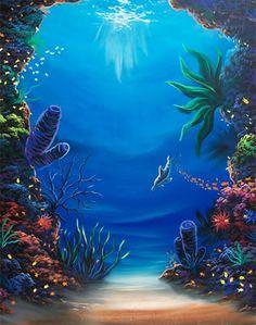 underwater paintings hawaii | ... Signed 4x5 Print Dolphin Ocean Hawaii Paintings Art Seascape Prints