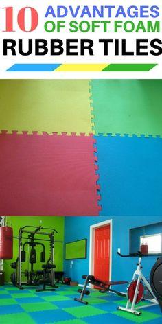 10 Advantages of soft foam rubber gym tiles - interlocking colorful squares.  TheFlooringGirl.com