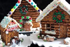 Decorated Pretzel Cabins - Use boiled sugar for glue to keep it edible!