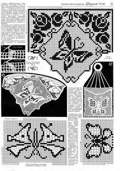"Photo from album ""дуплет 140 on Yandex. Crochet Lace Edging, Crochet Borders, Crochet Patterns, Crochet Butterfly, Butterfly Pattern, Geek Cross Stitch, Cross Stitch Patterns, Filet Crochet Charts, Fillet Crochet"