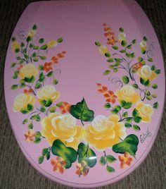 Custom Hand Painted Molded Wood Elongated Toilet Seat Roses ChicShabby